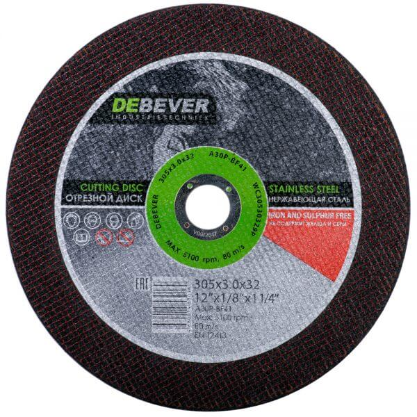 Отрезной диск по нержавеющей стали DEBEVER 305 мм