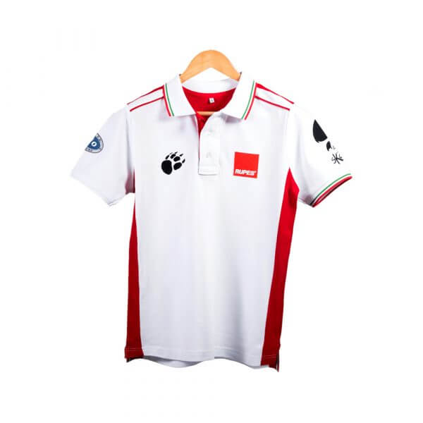 Белые рубашки-поло с логотипом RUPES BIG FOOT
